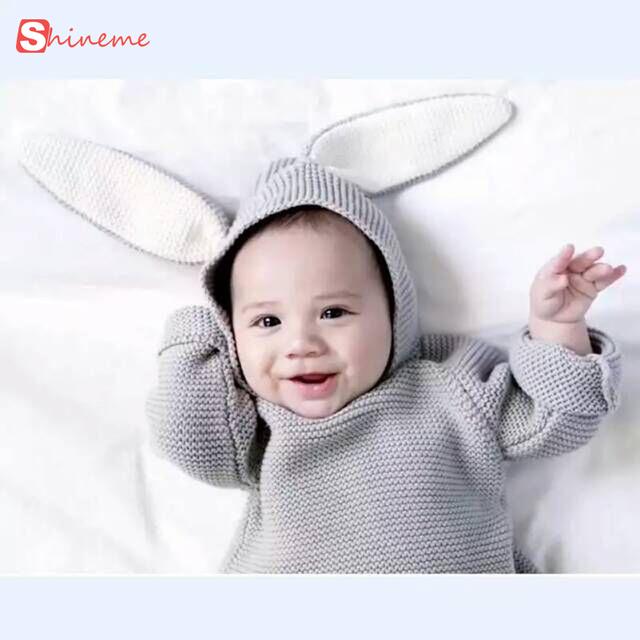 Orelhas de coelho quente roupas Crianças camisolas Dos Desenhos Animados das meninas dos meninos camisola com capuz de lã de algodão inverno malhas camisola infantil