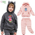 V-TREE Зимой дети комплект одежды сгустите бархатные костюмы мода костюмы для девочек Робот дети спортивный костюм мальчиков одежды наборы