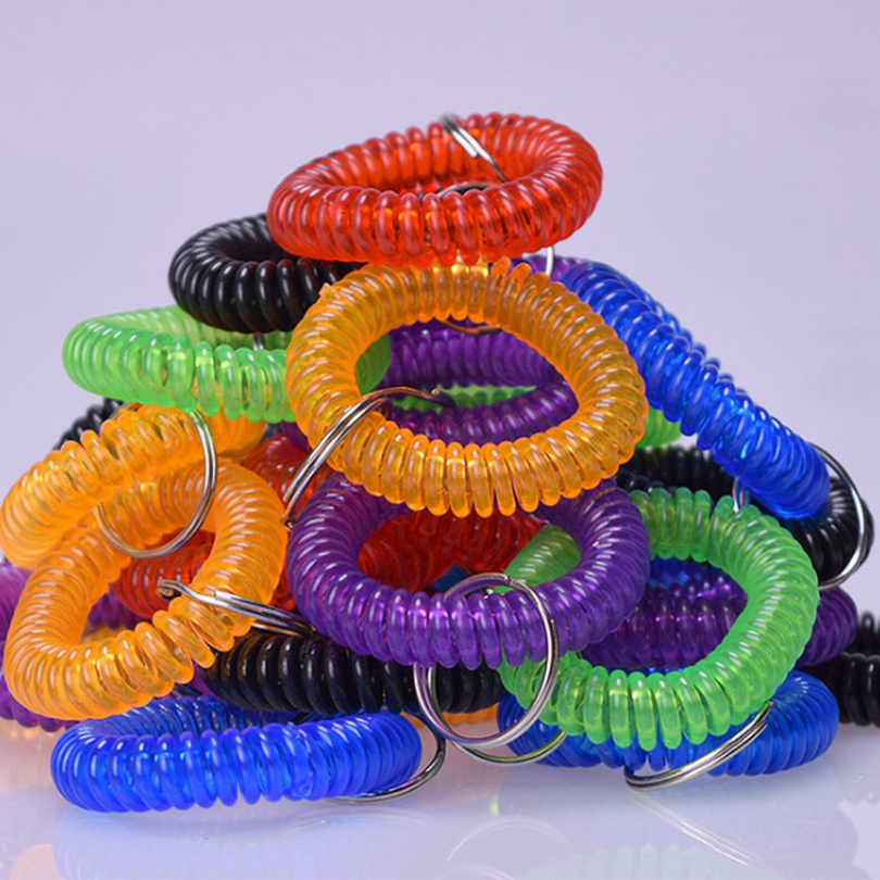 30 NEW SPIRAL WRIST COIL KEYCHAINS STRETCHABLE KEY RING WRIST BAND KEY CHAIN