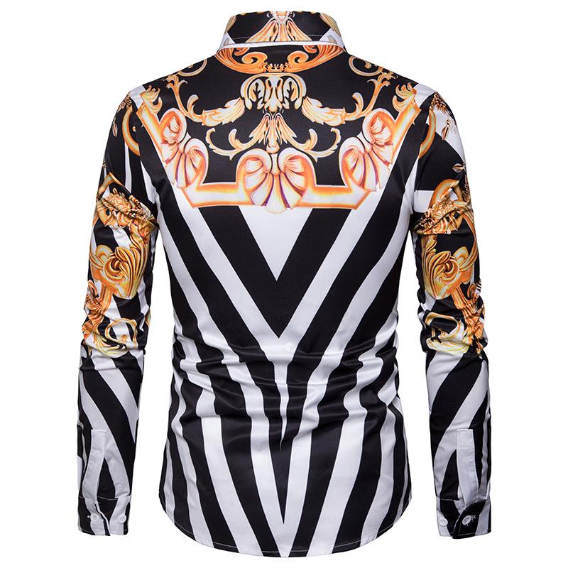 Striped Blouse Mens Vintage print Long sleeve Mens Shirt Fashion Casual New Model Shirts in Casual Shirts from Men 39 s Clothing