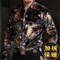Персонализированная печать золото бархат высокого класса бутик рубашку с длинными рукавами 2016 Осень и Зима мода толстые качество рубашка мужчин M-XXXL