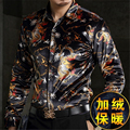 Personalized printing gold velvet high-end boutique long-sleeved shirt 2016 Autumn&Winter fashion thick quality shirt men M-XXXL