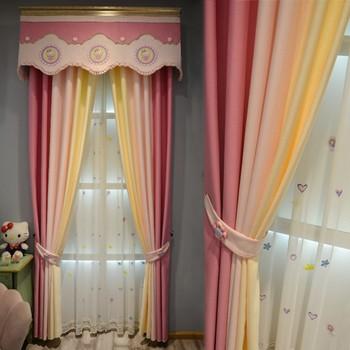Custom curtains Children's room pink princess wind girl bedroom window cloth blackout curtain tulle valance drape B474