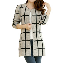 Winter Pullover mantel Frauen strickjacke Koreanische Lose dünne Plaid Stricken Strickjacke kleidung Vestidos dropshipping LXJ253(China)
