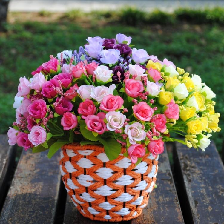 Глава 21 искусственного шелка Розы Декоративные цветы для свадьбы цветок украшения дома Букет