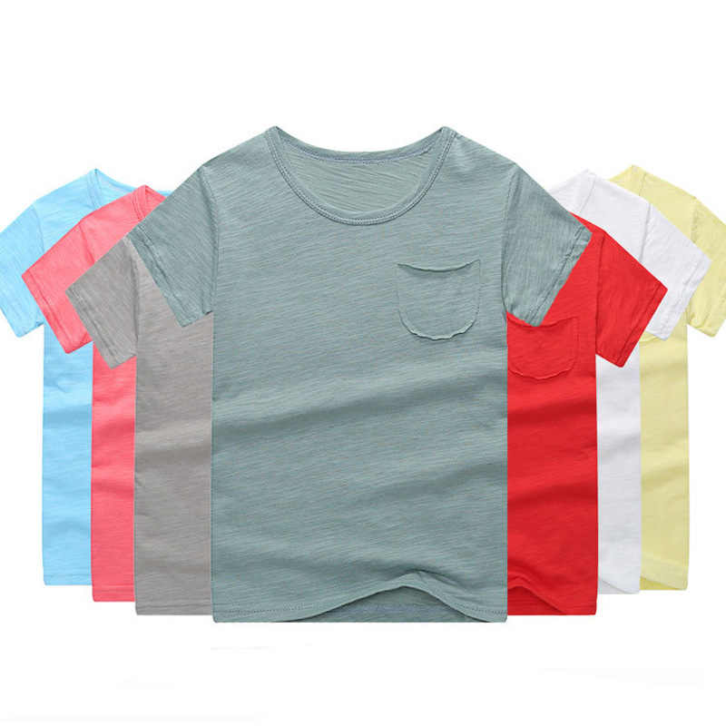 新 2019 夏の子供着用竹綿リネン半袖 Tシャツ男の赤ちゃん冷気通気性無地 tシャツ