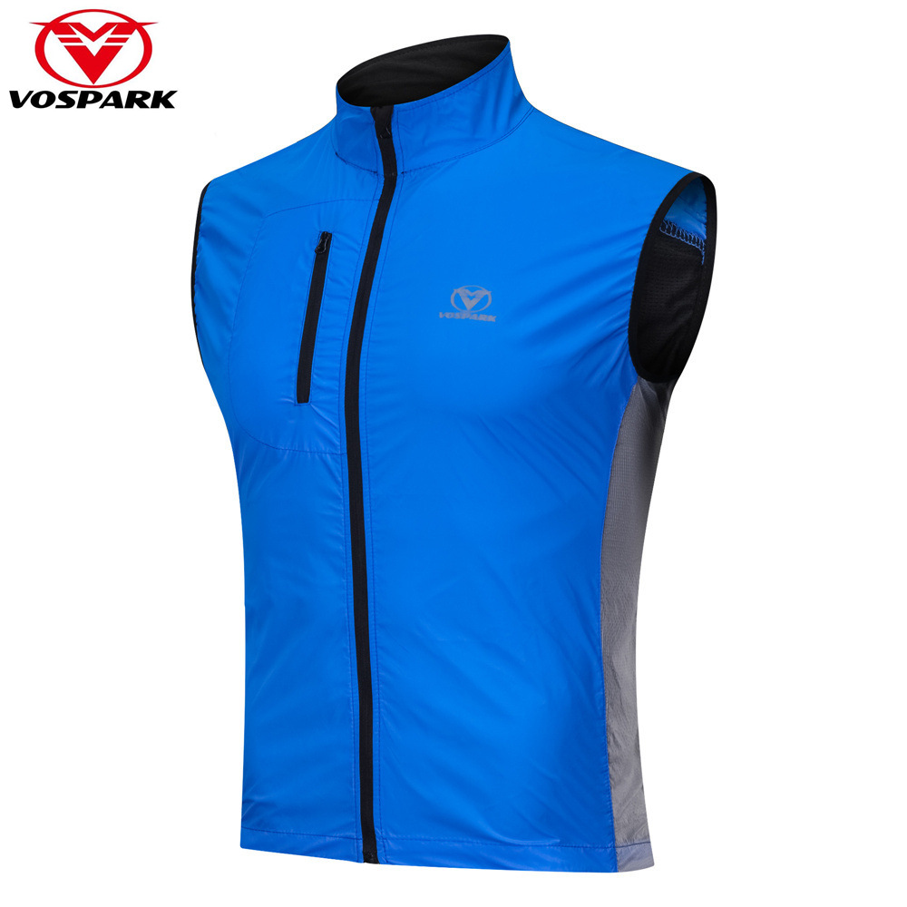VOSPARK Pro Mens Cycling Vest Reflective Windproof Waterproof Breathable Cycling Clothing MTB Bike Bicycle Jacket Sleeveless