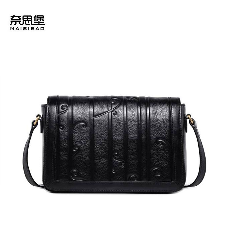 NAISIBAO women genuine leather bag embossing fashion Designer luxury women leather shoulder cowhide bag luxury genuine leather bag fashion brand designer women handbag cowhide leather shoulder composite bag casual totes