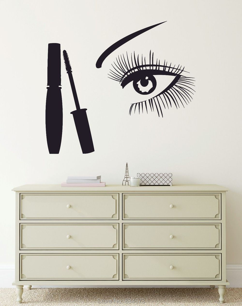 Makeup woman girls eye beauty salon wall art sticker decal home makeup woman girls eye beauty salon wall art sticker decal home diy decoration decor wall mural removable room decal stickers 57x57cm amipublicfo Images