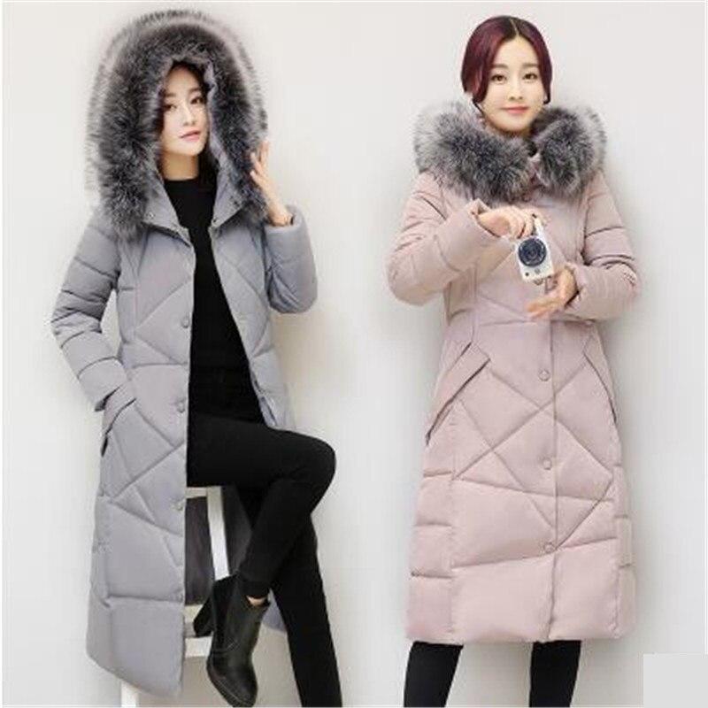 Kg539 D'hiver gray Manteau Bas La Coton Nouveau Vestes Haute Pink Col Taille Plus Longues À Qualité Le Vers De Chaud Fourrure Capuche black Femmes Manches 2018 Coréenne 8wxf4gE