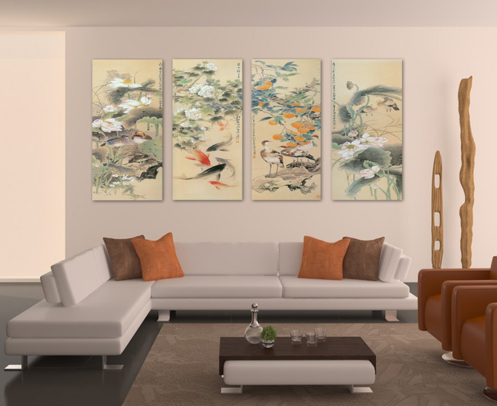 Clstrose canvas painting cuadros large wall pictures for living room koi fish art 4 piece canvas fashion home decoration chinese in painting calligraphy