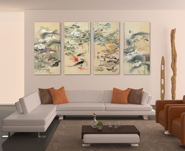 painting cuadros large wall pictures for living room koi fish art