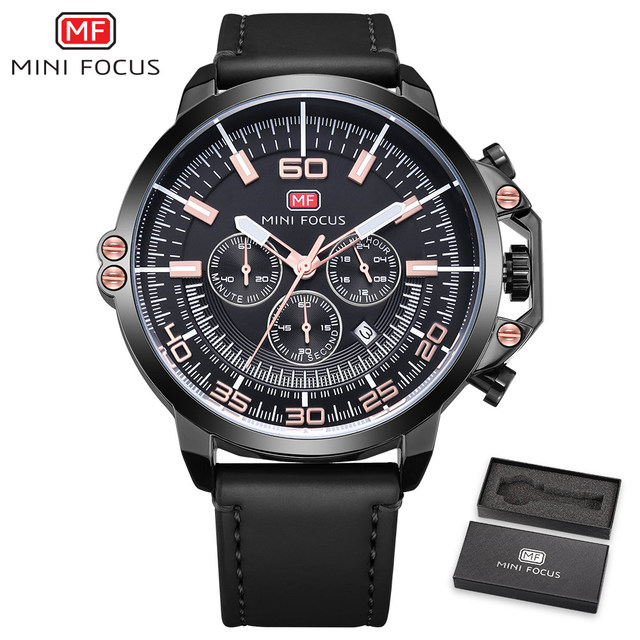 MINIFOCUS Multifuntion Sport Quartz Wristwatch Fashion Casual Mens Oversized Watch Genuine Leather Army Military Clock For Male