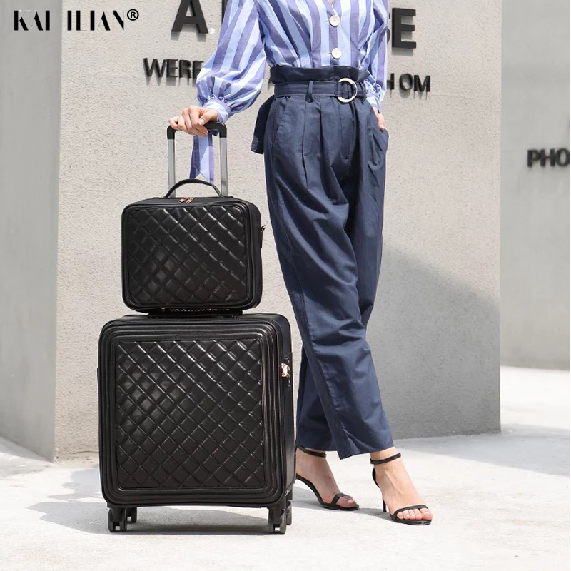 18/20/24 Inch Suitcase Set Leather Rolling Luggage Women Trolley Bag Travel Cabin Carry-ons Suitcase On Wheels Fashion Luggage