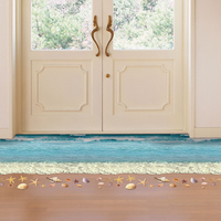 58*90cm Removable Wall Sticker 3D Anti Slip Waterproof Bathroom Floor Sticker Starfish Footprint Beach Wave Stickers Room Decor
