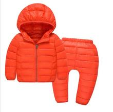 new boy down jacket suits in winter Down jacket suits of the girls Age for 2 children hooded warm coat – 7 years old children