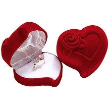 В форме сердца Бархатная коробочка для кольца ювелирные изделия дисплей обручальные коробочки для обручальных колец роза, цветок, дизайн подарочный держатель для пары