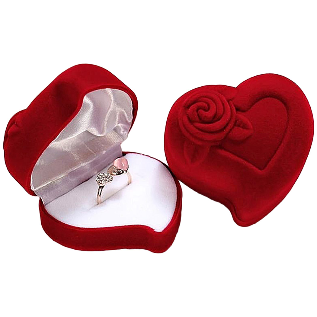 Heart Shape Velvet Ring Box Jewelry Display Engagement Wedding Jewelry Boxes Rose Flower Design Gifts Holder For Couple