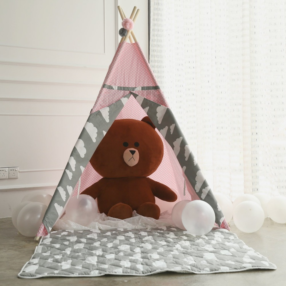 Pink Pokla Dot Teepee With Clouds Accents Fairy Girls Teepee Tent Kids Teepee Tipi Tent pink clouds teepee tent indoor childrens play tipi