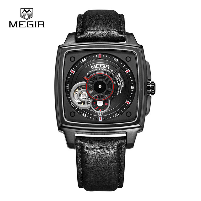 Megir hot fashion mechanical watch man 2016 new leather wrist watches men lunxury brand watch waterproof hour clock 62042