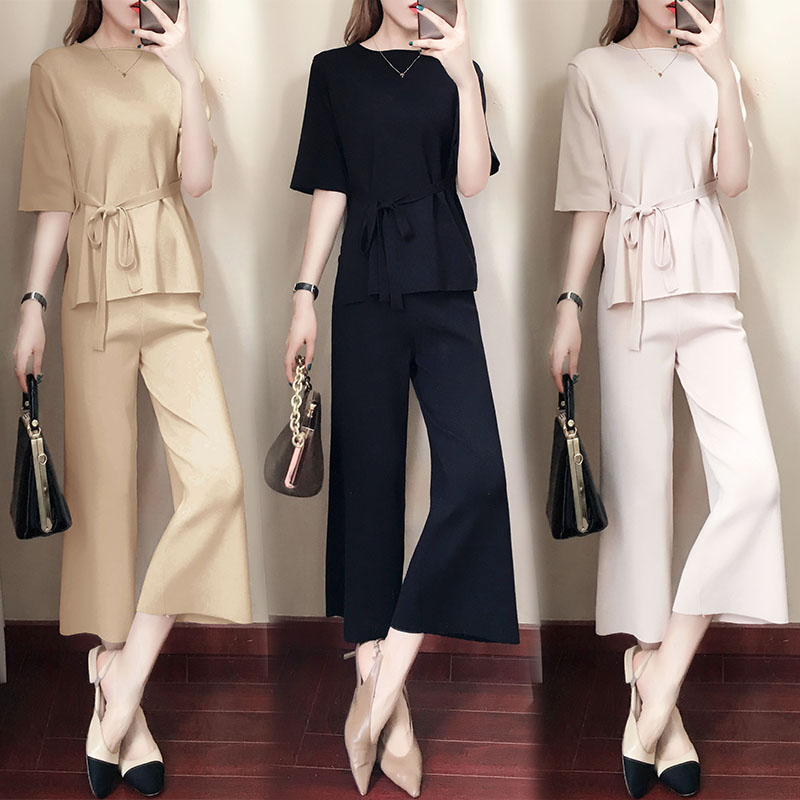 Knitted Two Piece Sets Women Short Sleeve Lace-up Tunics And Wide Leg Pants Sets Suits Office Elegant Korean Casual Women's Sets 32