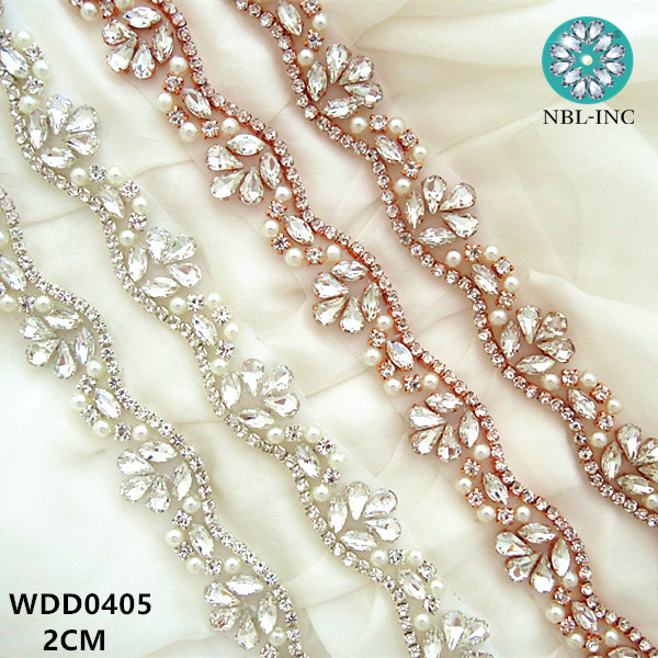 (10 YARDS) Wholesale hand sewing bridal beaded rose gold crystal rhinestone  pearl applique trim for wedding dress sash WDD0405-in Rhinestones from Home  ... e893edb0a23e