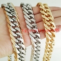 Fashion 9/11/13/16/19/21MM Stainless Steel Silver Gold Curb Cuban Link Chain Bracelet Or Necklace Biker Mens Best Gift  8-40""