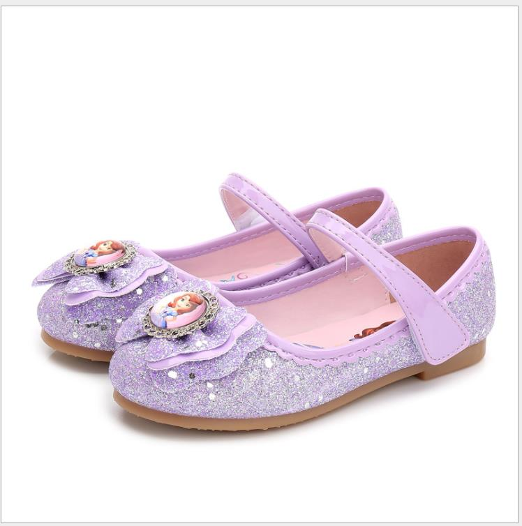 New Fashion Kids Sandal Lovely Cartoon Sofia Princess Sandals Children Leather Flat Shoes For Girls Crystal Shoes