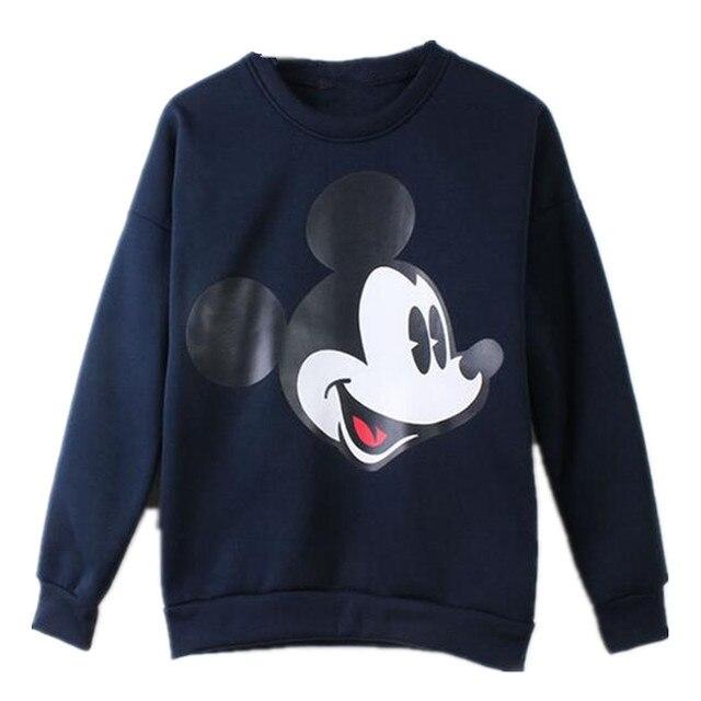 d08dcc2eb Women Hoodies Mickey Mouse Printed Pullovers Sweatshirt Long Sleeve O-neck  Casual Slim Grey Black Female Tracksuit Hoodies Tops