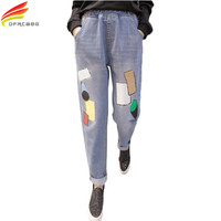 Elastic High Waist Casual Autumn Big Size Jeans Woman Print Pattern Pencil Pants Long Pantalon Femme