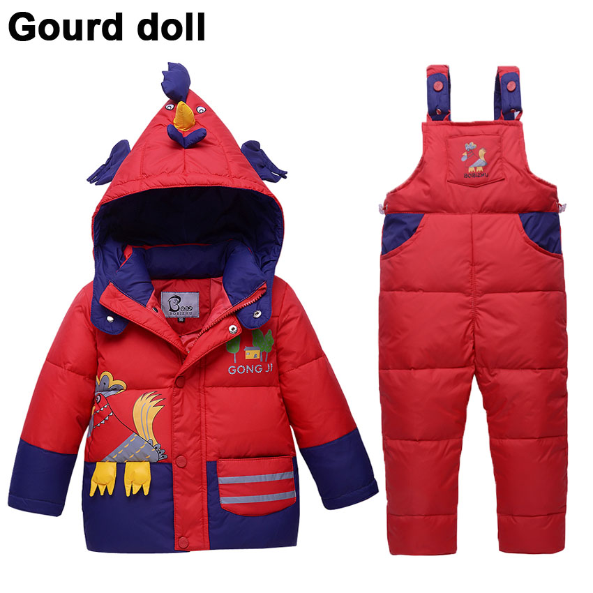 New Child Boy Girls Winter clothing set duck down jacket for girl pants-jacket hooded baby boy winter jacket & coat Pony pattern new 2016 baby down coats set baby down jacket suspenders girl