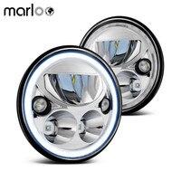 Marloo Pair X7 Sealed LED Headlights For Jeep DOT Emarked Wrangler Jk TJ 7 Round Black