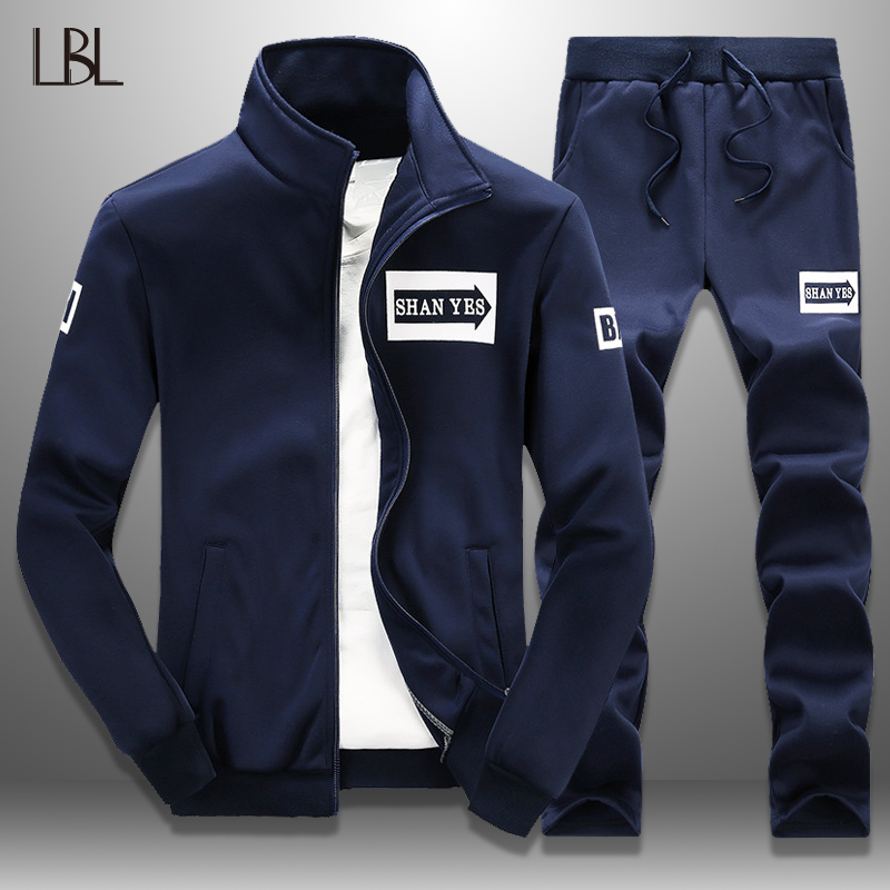 LBL Slim Tracksuit Men Casual Jacket Track Suit 2 Piece Set Men's Sportswear 2019 Spring Fitness Clothing Mens Hoody Pants Sets