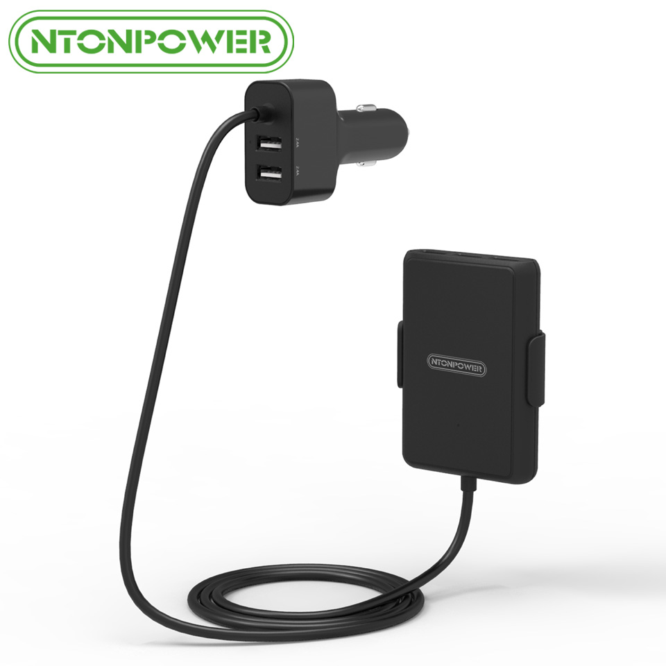 NTONPOWER UCP 5 Ports USB Car Charger with 1.8m Extension Cable Charger Adapter Quick Charge 3.0 for iPhone/ Samsung/ Huawei