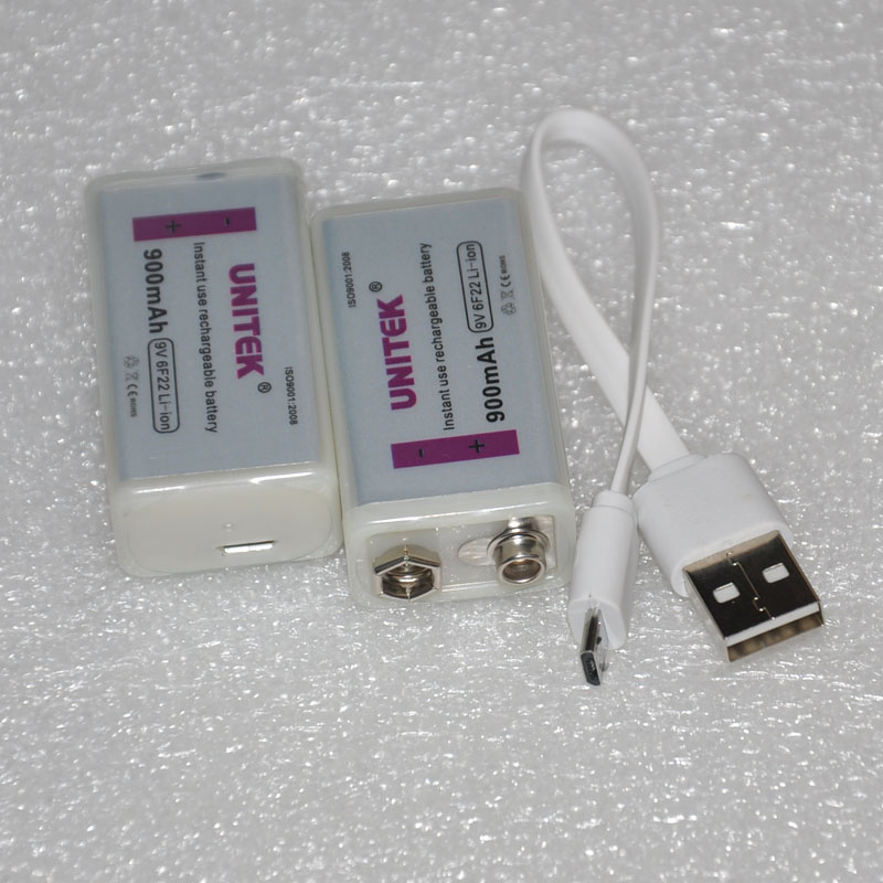 2PCS USB 9V battery 900mAh 6F22 li ion cell + USB cable for microphone Guitar EQ smoke alarm multimeter