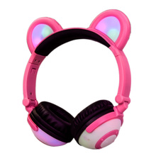 Pink Kids Headphones Foldable Wireless Bluetooth Flashing Glowing Headset Cute Cat ear Headphone for Girl cartoon cat ear headphone flashing glowing cosplay cat ear headphones foldable gaming headsets earphone with mic for girl gift