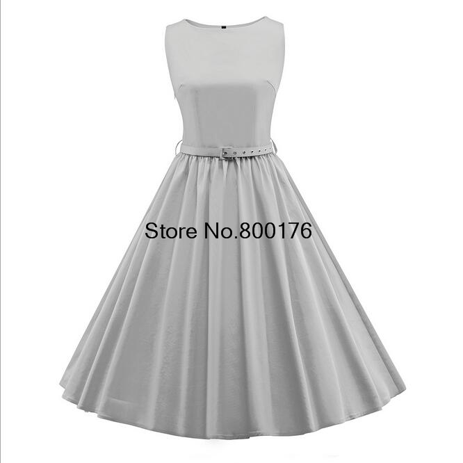 cb3072ca1f77 Drop shipping 2017 Women grey Rockabilly Pinup Vintage Swing Dress Ladies  Sexy Summer Fancy Dress S-3XL