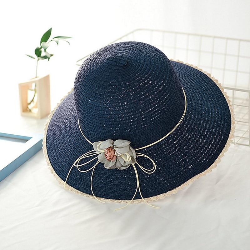 Женские плетеные шляпы от солнца ручной работы с цветочным дизайном, соломенная шляпа с большими полями на шнуровке, Летние Пляжные шапки, женские шапки