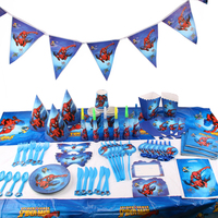 145pcs/lot Spiderman Children Birthday Party Decorations Kids Evnent Party Supplies Birthday Tableware Sets Party Favors