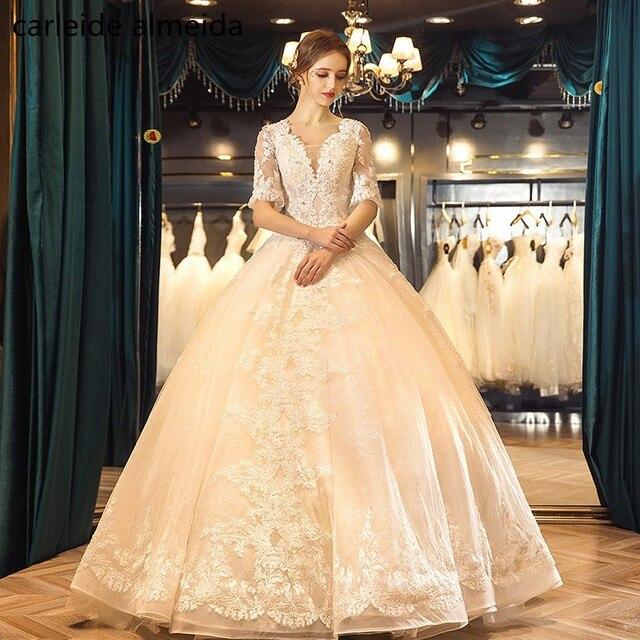 cd2fc47a9 Vestidos de Novia de Baile Do Casamento Do Laço Vestido de Decote Em V Até O