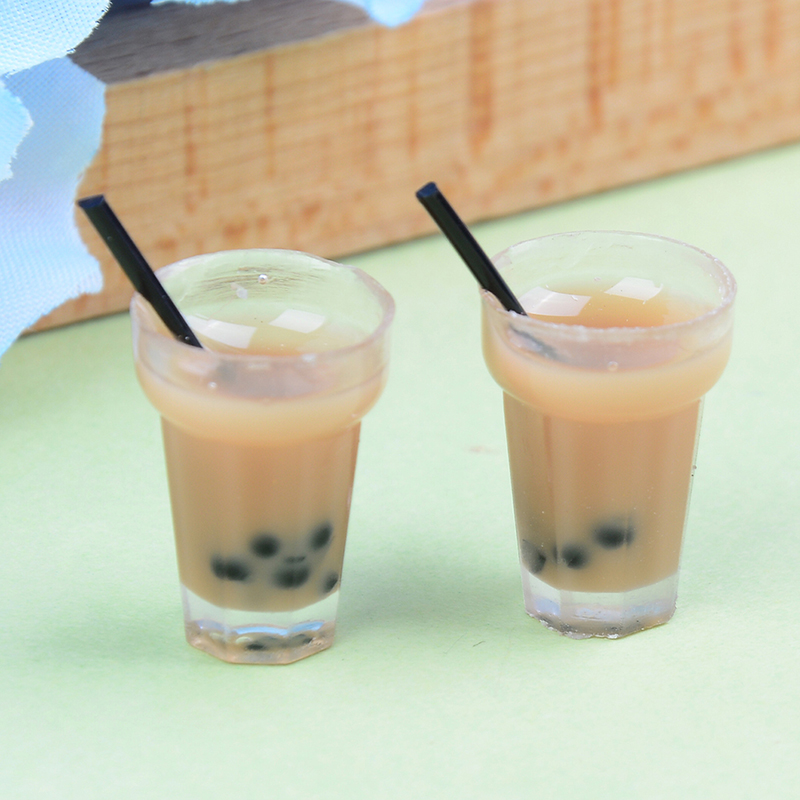 2Pcs/Lot Doll House Miniature Tea With Milk Cups Food Drink Beverage Toy Decoration Wholesale