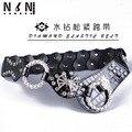 Diamante decoración de la correa ancha elástico de moda cien pad sello de piel niñas abrigo de invierno de la correa elástica decoración de la cintura