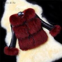 Daisy & Na Women Luxury Winter Ladies PU Leather Faux Fur Short Coat Jacket Outwear 151