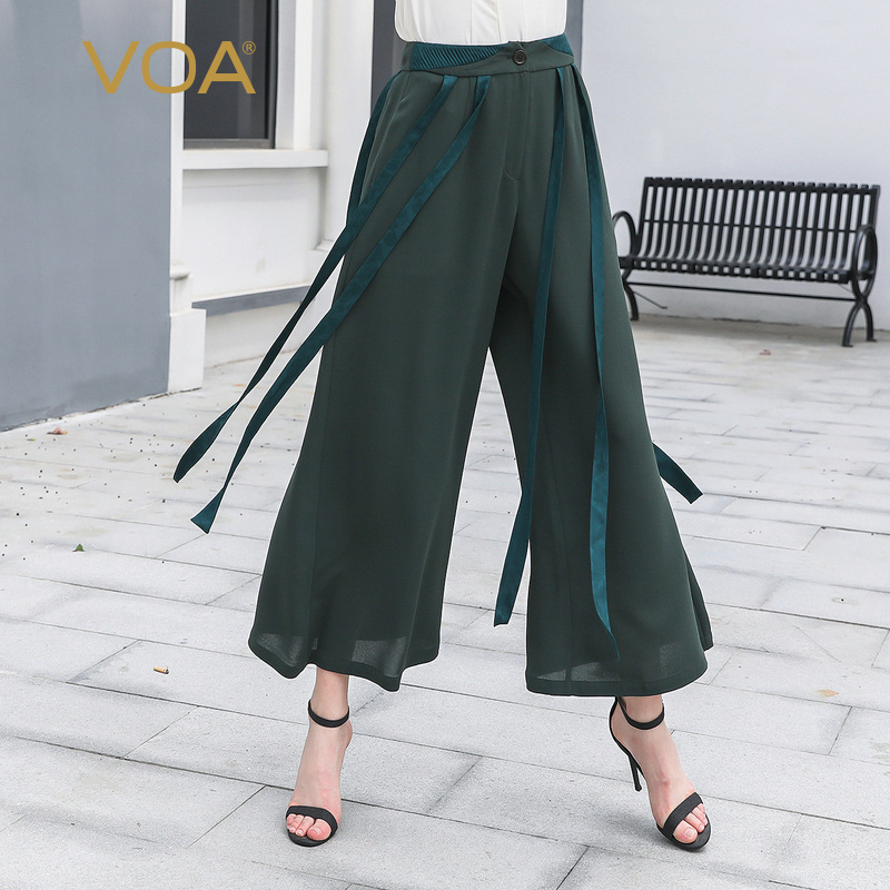 VOA Tassel Ribbons Wide Leg Pants Heavy Silk Trousers Women High Waist Broeken Casual Tea Green Palazzo Ladies Pantalon K856