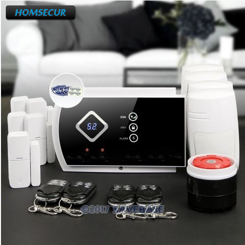 HOMSECUR Wireless GSM SMS Autodial Home House Alarm System with 4 Pet-Immune PIR homsecur app controlled wireless gsm lcd rfid burglar alarm system with 4 pet immune pir 5 door sensor