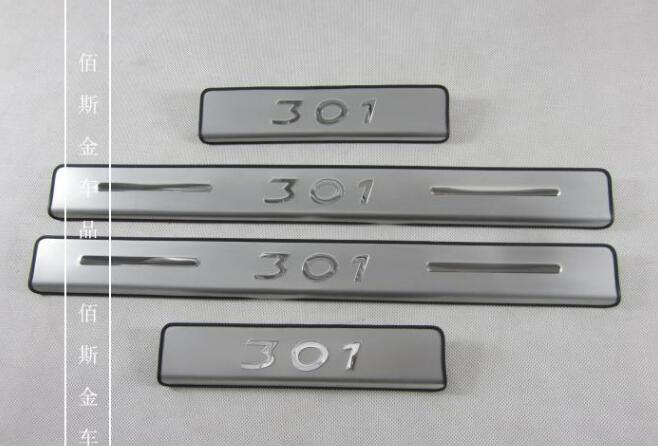 High quality stainless steel Scuff PlateDoor Sill for 2013 2014 Peugeot 301