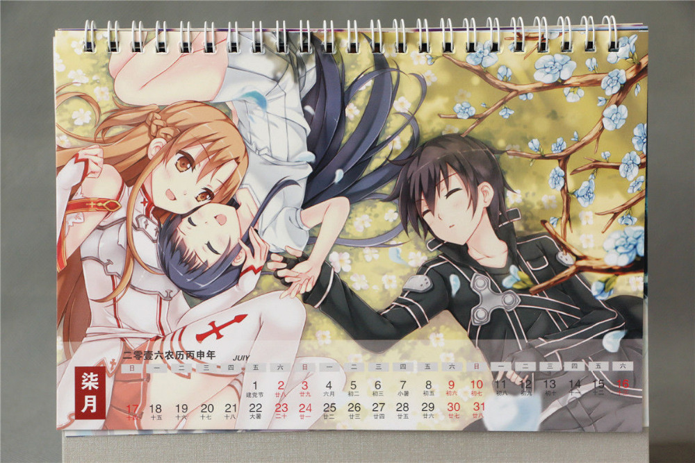 Calendar Sword Art : Desk calendar japan anime sword art online sao alo