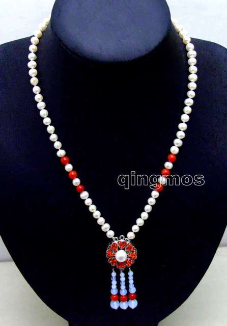 "SALE 6-7mm White Round Natural Freshwater Pearl with 25mm Red Pendant 20"" necklace-nec6088 wholesale/retail Free shipping"