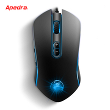 Apedra 3200DPI USB Wired Gaming Mouse Gamer Computer Mice LED Mouse Ergonomics 7 Buttons for PC Mac Laptop Game LOL Dota2
