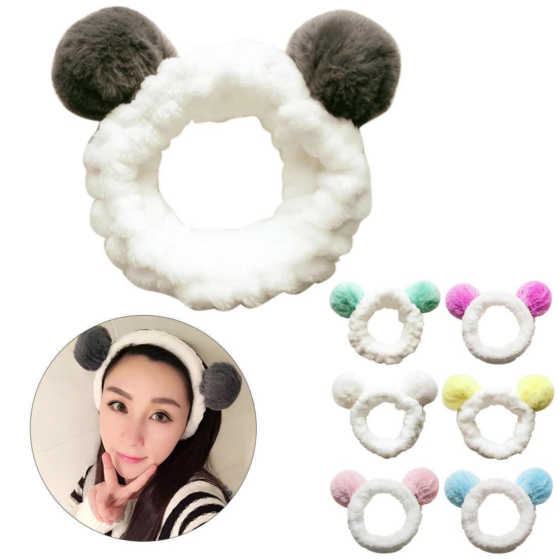 Милые панды уха Женская головная повязка тюрбан девушка эластичный макияж шапочка для душа головы обёрточная бумага корейская мода стиральная уход за кожей